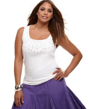 INC International Concepts Plus Size Top, Lace Embellished Tank with Studs