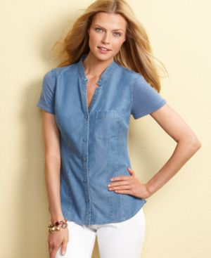 Charter Club Shirt, Short Sleeve Chambray with Knit Accents - Tops