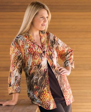 J Jones New York Plus Size Top, Linen Printed Long Sleeve