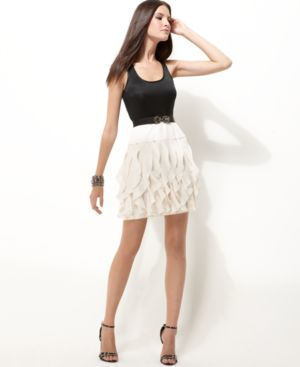 BCBGMAXAZRIA Dress, Sleeveless Ruffled Skirt with Belt