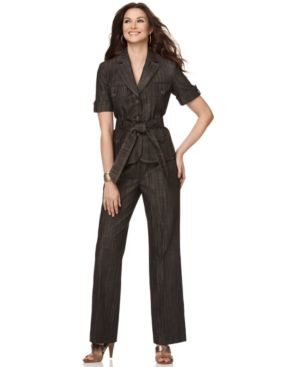 Nine West Suit, Short Sleeve Jacket with Pockets & Straight Leg Pants