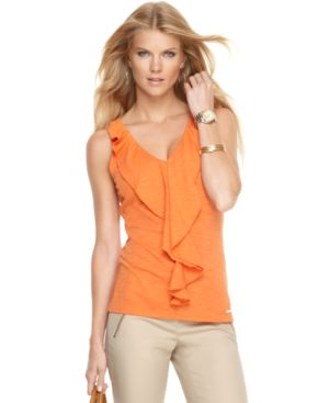 MICAHEL Michael Kors Top, Sleeveless Ruffle Front