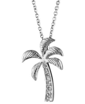 14k White Gold Pendant, Diamond Accent Palm Tree