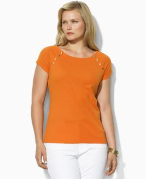 Lauren by Ralph Lauren Plus Size Top, Kaze Boat Neck with Buttons