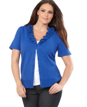 INC International Concepts Plus Size Cardigan, Short Sleeve Rosette Trim