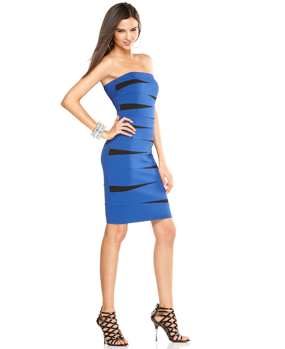 INC International Concepts Dress, Strapless Color Block Banded