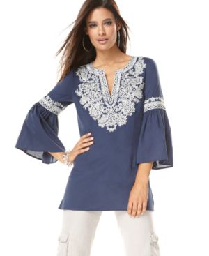 INC International Concepts Top, Lantern Sleeve Soutache Trim Tunic