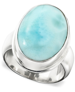 Sterling Silver Ring, Larimar Oval