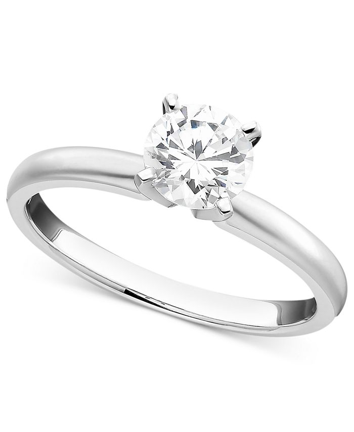 Macy's - 18k White Gold Ring, Certified Colorless Diamond Engagement (1/2 ct. t.w.)