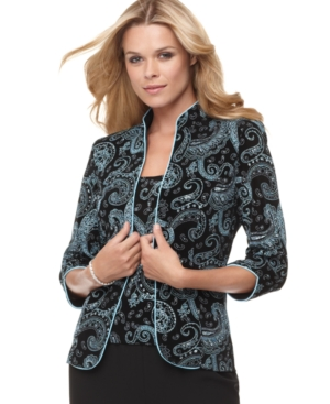 Alex Evenings Jacket & Shell, Three Quarter Sleeve Metallic Paisley
