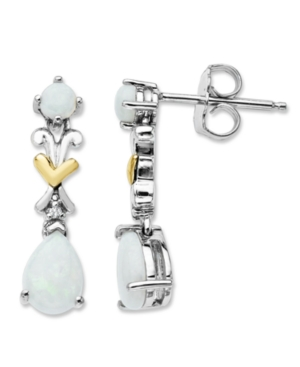 14k Gold and Sterling Silver Earrings, Opal X Drops (9/10 ct. t.w.)