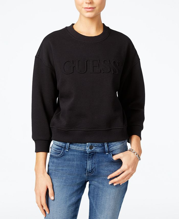 GUESS - Logo-Embossed Cropped Sweatshirt