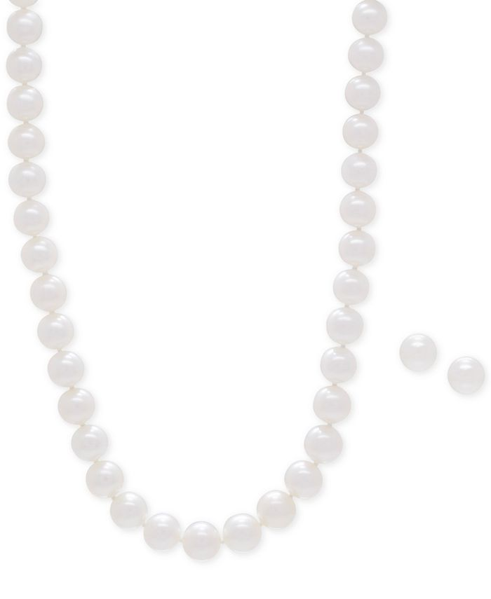 Honora - Cultured Freshwater Pearl Collar Necklace (9mm) and Matching Stud Earrings (8-1/2mm) Set