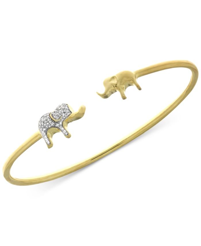 Wrapped Diamond Elephant Open Bangle Bracelet (1/6 ct. t.w.) in Sterling Silver and 14k Gold-Plate, Created for Macy's & Reviews - Bracelets - Jewelry & Watches - Macy's