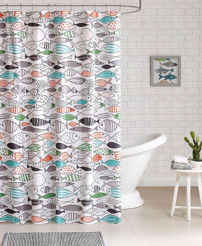 HipStyle - Sardinia Printed Cotton Shower Curtain