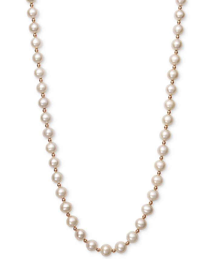 Belle de Mer - White Cultured Freshwater Pearl (7-1/2mm-8-1/2mm) and Gold Bead (3mm) Collar Necklace in 14k Rose Gold