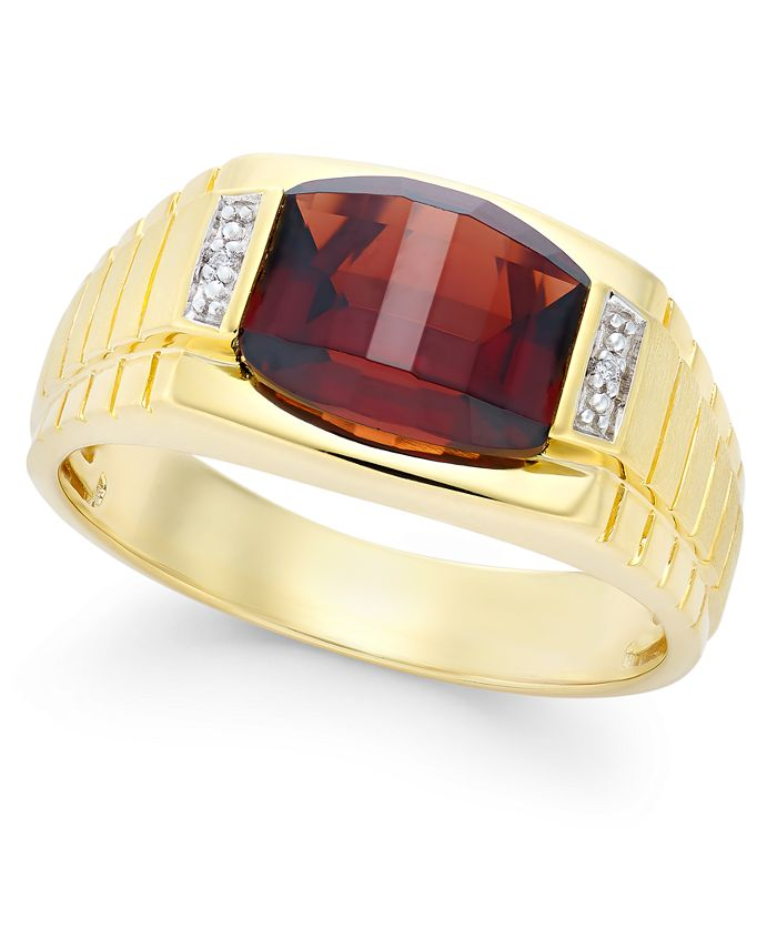 Macy's - Men's Garnet (4-1/3 ct. t.w.) and Diamond Accent Ring in 10k Gold