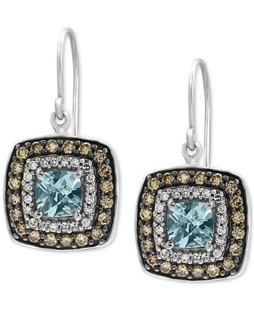 Effy Final Call Aquamarine (1-1/8 ct. t.w.) and Diamond (3/4 ct. t.w.) Square Drop Earrings in 14k White Gold