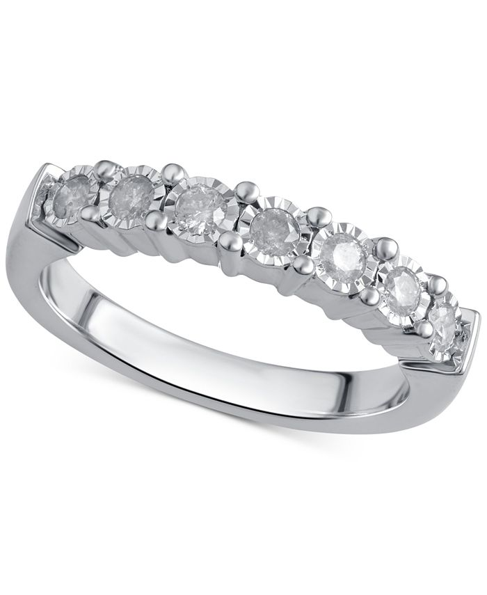 Macy's - Diamond Band (1/4 ct. t.w.) in Sterling Silver or 14k Gold over Sterling Silver