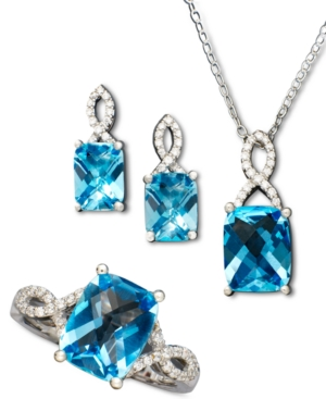 Sterling Silver Jewelry Set, Blue Topaz (7-1/2 ct. t.w.) and White Topaz Accent Jewelry Set