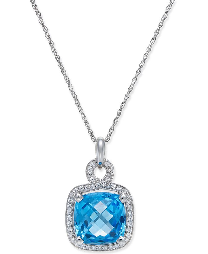 Macy's - Blue Topaz (8 ct. t.w.) and Diamond (1/3 ct. t.w.) Pendant Necklace in 14k White Gold