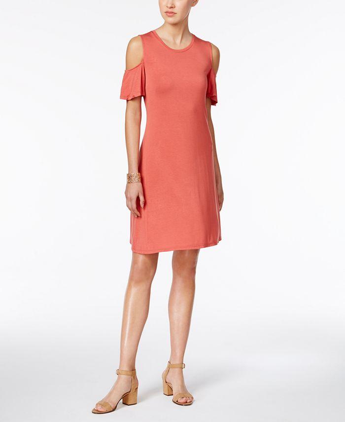Style & Co - Petite Cold-Shoulder Flutter-Sleeve Dress