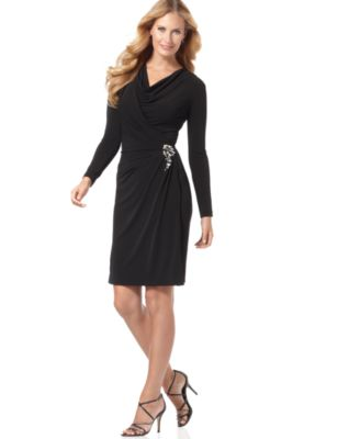 Jones New York Dress, Faux Wrap Draped Matte Jersey