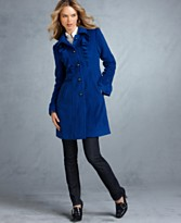 Tommy Hilfiger Coat, Long Sleeve Ruffle Front Jacket