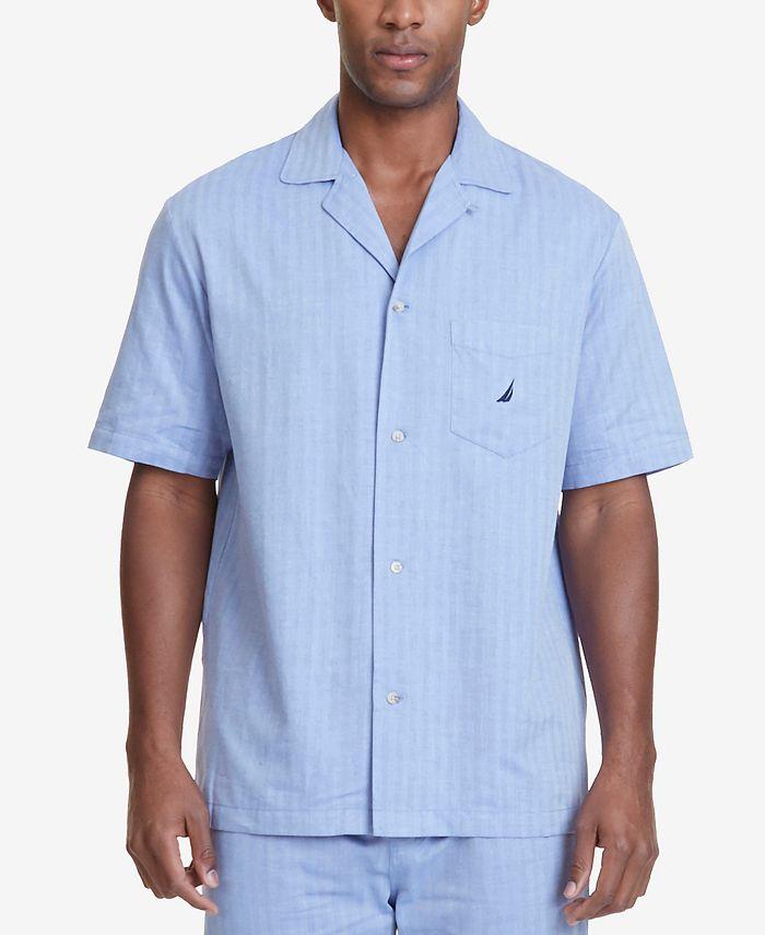 Nautica - Men's Herringbone Cotton Pajama Shirt