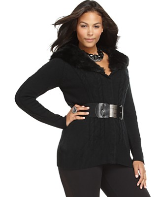 Baby Phat Plus Size Sweater, Long Sleeve Cable Belted with Faux Fur Collar - Junior Plus Size - Plus Sizes  - Macy's from macys.com