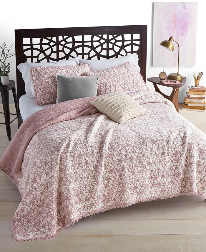 Martha Stewart Collection - Beach Wash Cotton Reversible Sunset Pink Twin Quilt