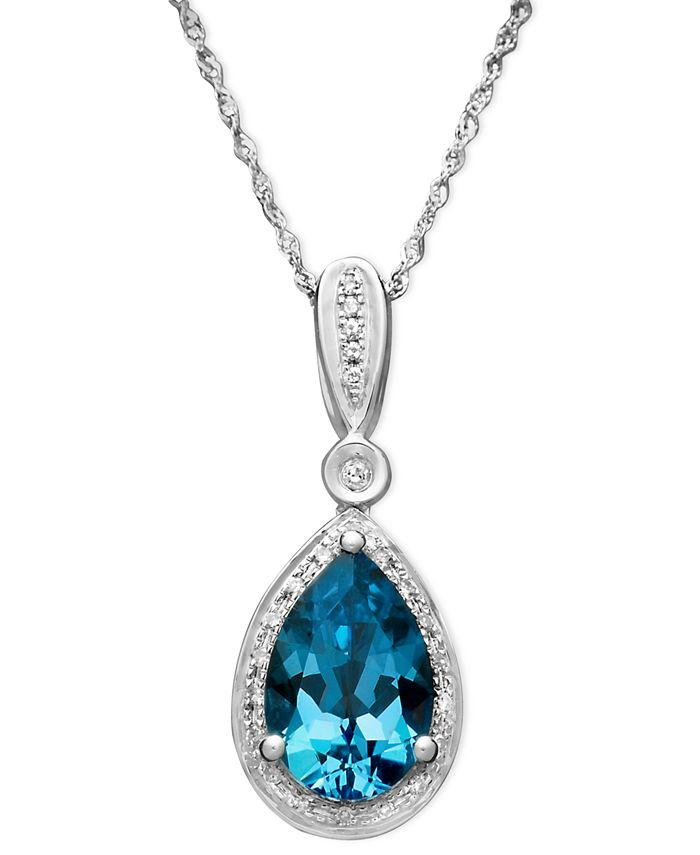Macy's - Blue Topaz (3 ct. t.w.) and Diamond (1/10 ct. t.w.) Teardrop Pendant Necklace in 14k White Gold