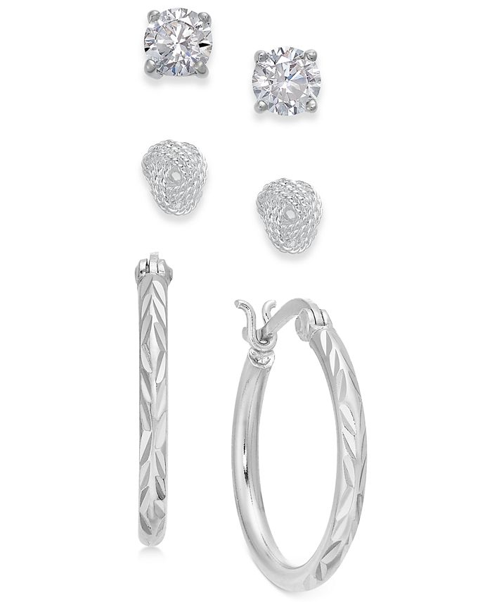 Giani Bernini - Sterling Silver 3-Pc. Set Cubic Zirconia Stud & Hoop Earrings