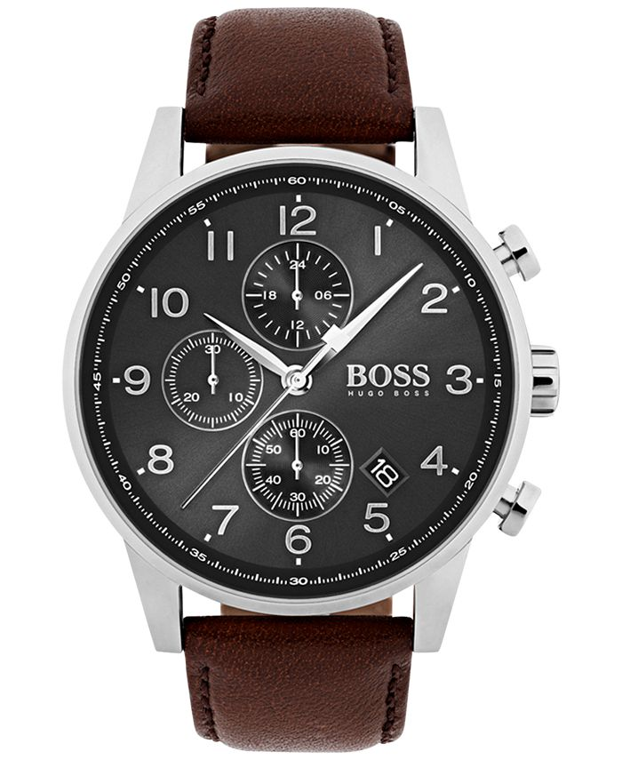 BOSS - Men's Navigator Brown Leather Strap Watch 44mm 1513494