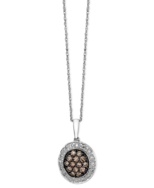 Le Vian Diamond Necklace, 14k White Gold Chocolate and White Diamond Oval Pendant (3/8 ct. t.w.)