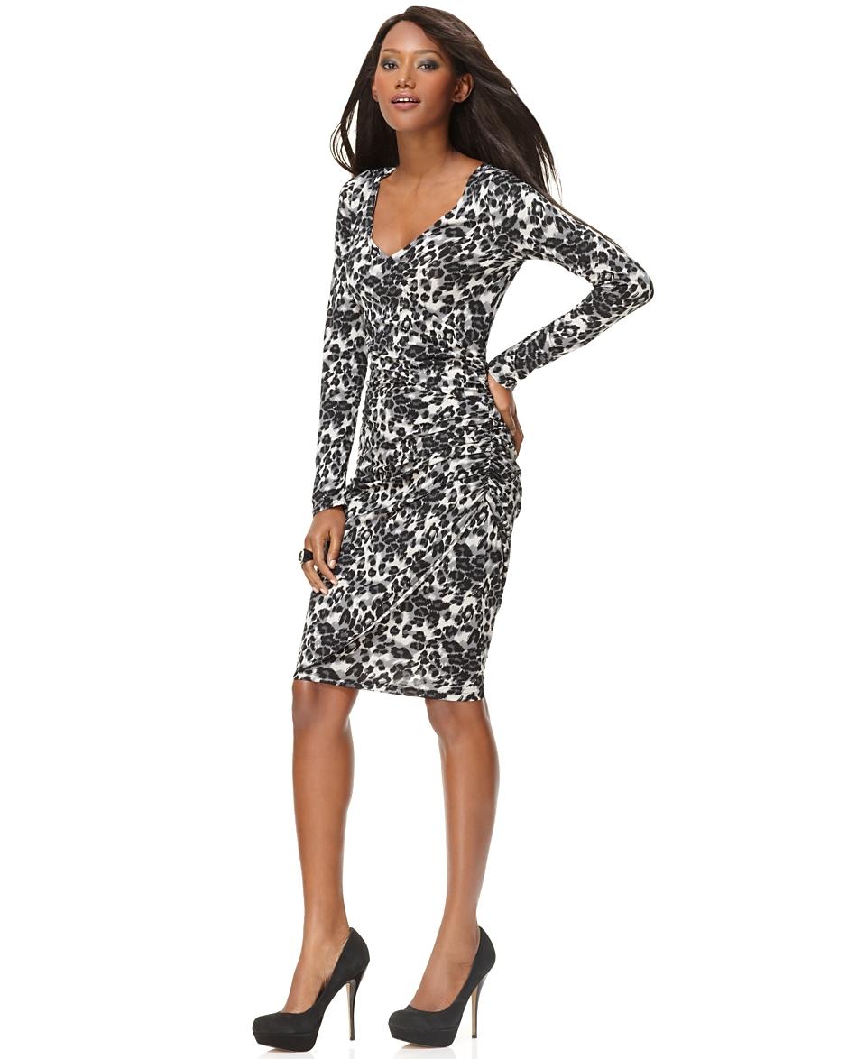 INC International Concepts Dress, V Neck Ruched Long Sleeve