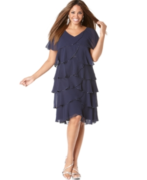 Patra Plus Size Dress, Beaded Tiered Evening Dress