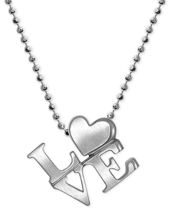 """Alex Woo - """"Love"""" Heart Pendant Necklace in Sterling Silver"""