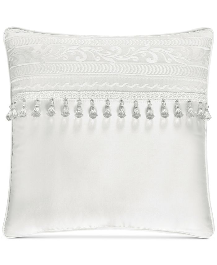 """J Queen New York - Bianco 18"""" Square Embroidered Decorative Pillow"""