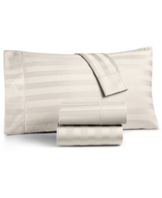 """1.5"""" Stripe 100% Supima Cotton 550 Thread Count Fitted Sheet, Twin, Created for Macy's"""