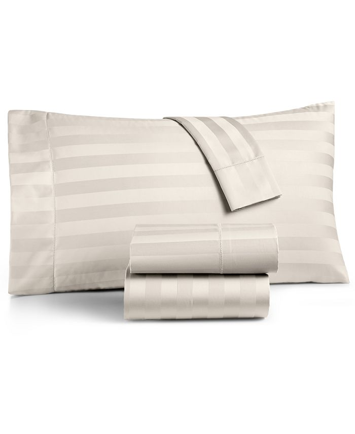 Charter Club - Damask Stripe Cotton 550-Thread Count King Fitted Sheet