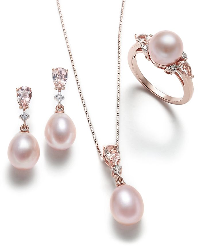 Macy S Pink Cultured Pearl Morganite And Diamond Jewelry Collection In 14k Rose Gold Reviews Necklaces Jewelry Watches Macy S