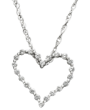 Diamond Heart Necklace, 14k White Gold Diamond Certified Near Colorless Heart Pendant (1 ct. t.w.)