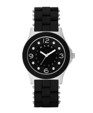 Marc by Marc Jacobs Watch, Women's Marc Mode Pelly Black Silicone Wrapped Stainless Steel Bracelet MBM2541