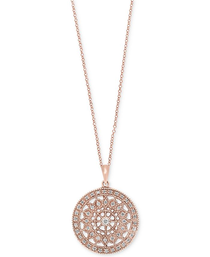 EFFY Collection - Diamond Disc Pendant Necklace (1/4 ct. t.w.) in 14k White, Yellow or Rose Gold