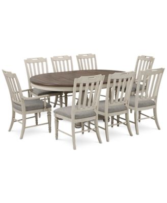 Barclay Expandable Round Pedestal Dining, 9-Pc. Set (Round Dining Pedestal Table, 6 Upholstered Side Chairs & 2 Upholstered Arm Chairs)