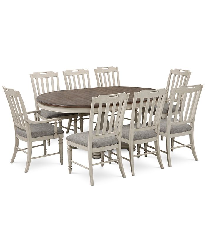 Furniture - Barclay Expandable Round Dining Set, 9-Pc. Set (Round Table, 6 Upholstered Side Chairs & 2 Upholstered Arm Chairs)