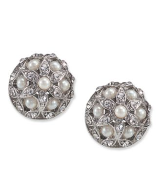 Carolee Earrings, Glass Pearl Crystal Small Button Stud