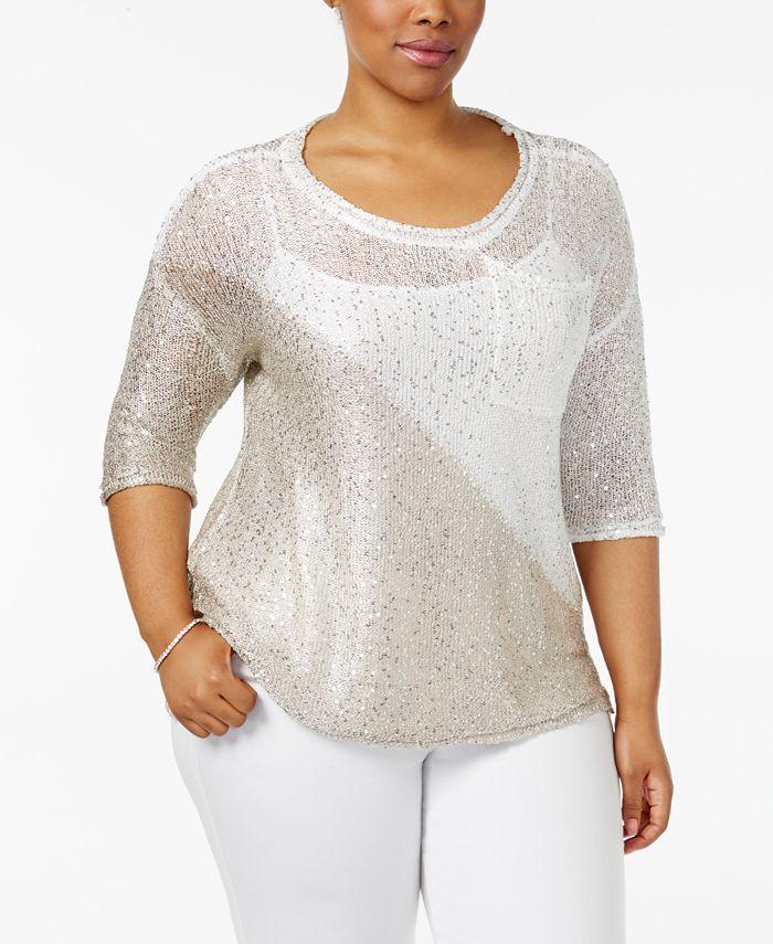 Belldini - Plus Size Colorblocked Sequin-Knit Sweater
