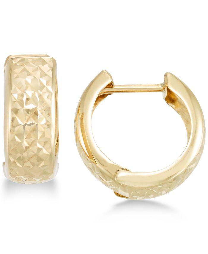 Macy S Textured Wide Huggie Hoop Earrings Reviews Earrings Jewelry Watches Macy S